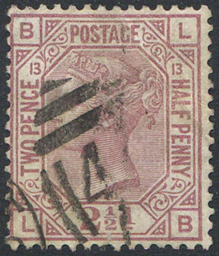 SG141 2 1/2d Rosy Mauve Plate 13 Fine Used