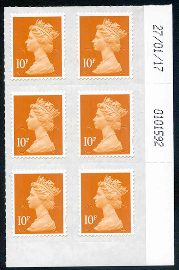U2923 10p Dull Orange M17L Unmounted Mint Marginal Block 6