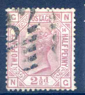 SG141 2 1/2d Rosy Mauve Plate 14 Fine Used