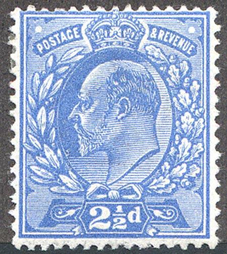 SG283Var 2 1/2d Bright Blue Mounted Mint Spec M18/2