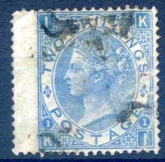 SG118 2/- Dull Blue Fine Used LH Wing Margin