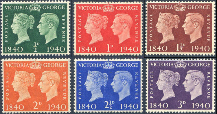 1940 Stamp Centenary SG479/484 Mounted Mint