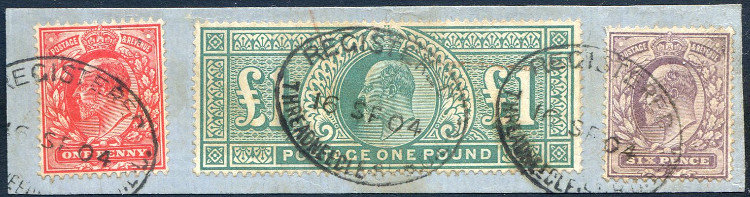 SG266 �1 Blue Green Fine Used on Piece with 1d and 6d Values