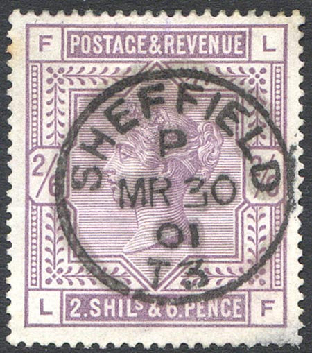 SG179 2/6 Deep Lilac Sheffield CDS  Very Fine Used Upright Strike
