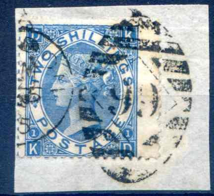 SG118 2/- Dull Blue Fine Used RH Wing Margin on small piece
