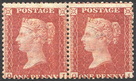 SG40 1d Rose Red Lightly Mounted Mint Pair