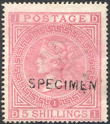 SG127s 5/- Pale Rose (no gum) Specimen Overprint