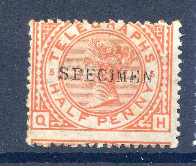 SGT1S 1/2d Orange Telegraph Stamp Mounted Mint Specimen Overprint