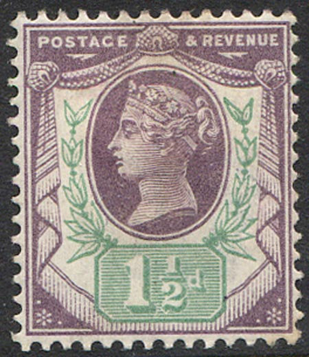 SG198 1 1/2d Dull Purple & Pale Green Mounted Mint