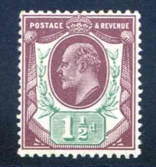 SG287 1 1/2d Reddish Purple & Bright Green Unmounted Mint