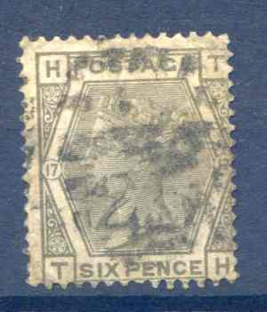 SG161 6d Grey Plate 17 Fine Used