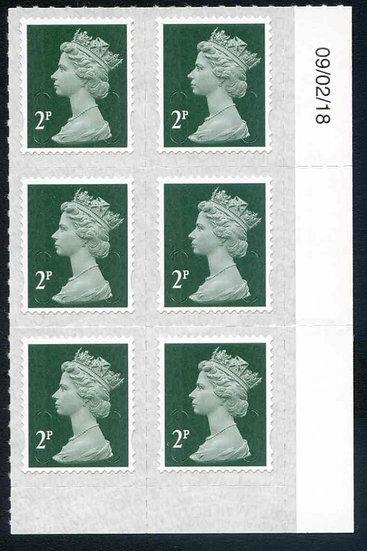 U2921 2p Deep Green M18L Unmounted Mint Marginal Block 6