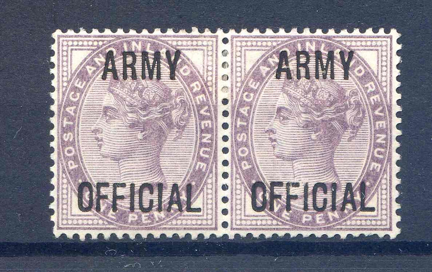 SG043 1d Lilac Army Official Pair Mounted Mint