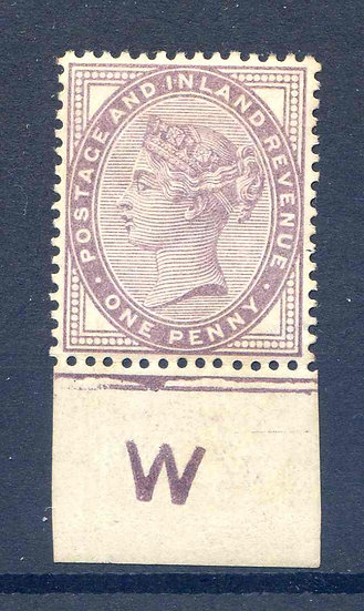 SG172 1d Lilac W Imperf Control Mounted Mint