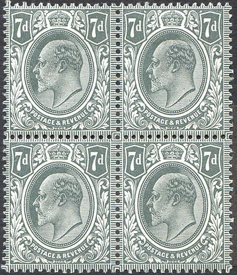SG305Var 7d Pale Grey Mint Block 4 Spec M38/3