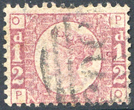 SG48 1/2d Rose Red Plate 5 Fine Used