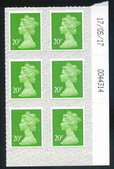 U2924 20p Bright Green M17L Unmounted Mint Marginal Block 6