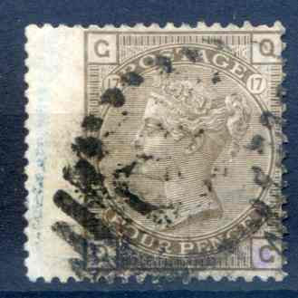 SG147 6d Grey Plate 17 LH Wing Margin Fine Used