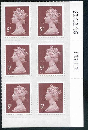 U2922 5p Dull Red Brown M16L Unmounted Mint Marginal Block 6