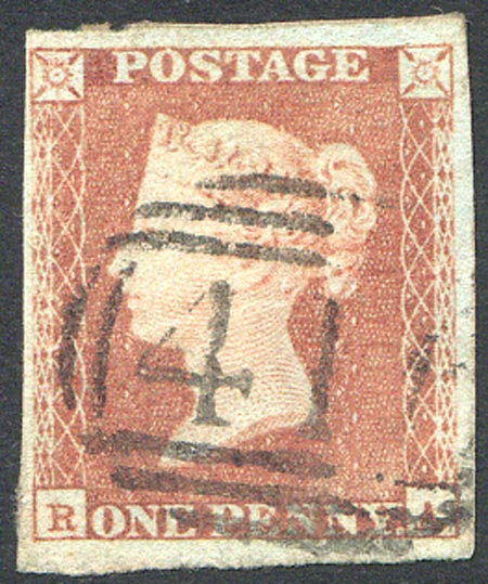 Penny Red Imperf (RA) Fine Used 4 Margin