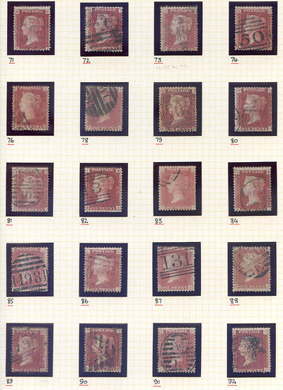 SG43 1d Red Set Plates 71-224 (Exc 77) Fine Used