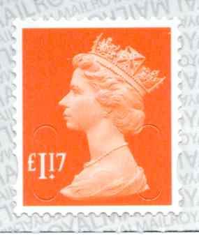 U2937 £1.17 Orange Red Unmounted Mint
