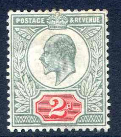 SG225 2d Yellowish Green and Carmine Red Mounted Mint