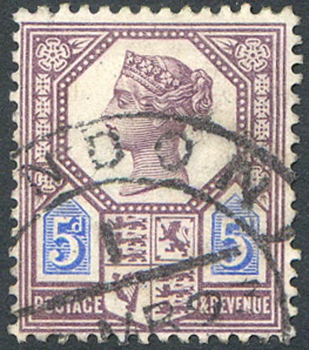 SG207a 5d Dull Purple & Blue (Die II) Fine Used