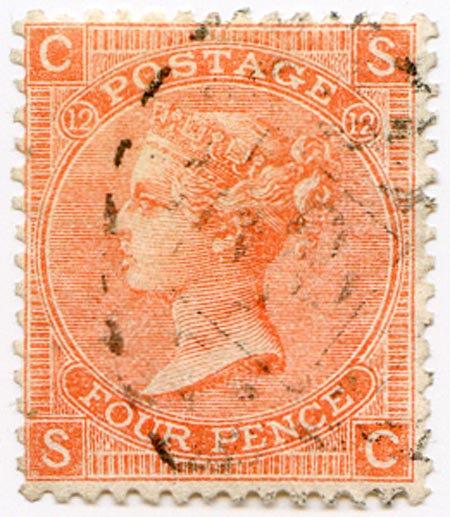 SG94 Plate 12 4d Vermillion Fine Used