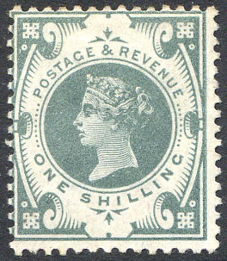 SG211 1/- Dull Green Lightly Mounted Mint