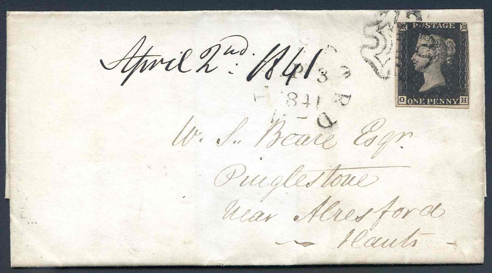 Penny Black Plate 7 On Cover to Hants. Dated Aril 2 1841