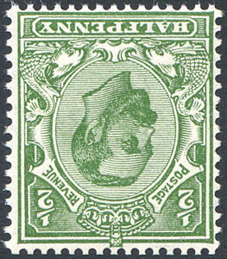 SG335wi 1/2d Green Watermark Inverted Unmounted Mint