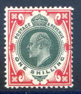 SG257 1/- Dull Green & Carmine Lightly Mounted mint