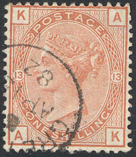SG163 1/- Orange Brown Plate 13 Very Fine Used Part CDS