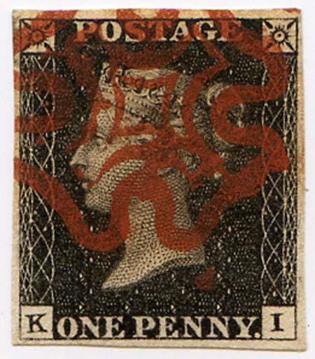 Penny Black (KI) Plate 3 4 Margin Red MX Fine Used
