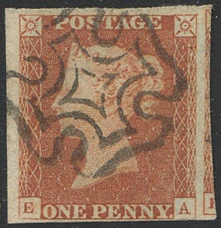 1841 Penny Red (EA) Very Fine Used 4 Margin Crisp Black MX 3 Large Margins