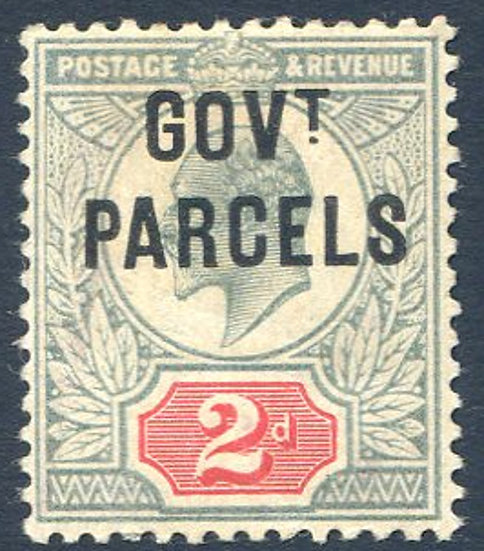 SG075 2d Govt Parcels Overprint, Toned Gum, Mounted Mint