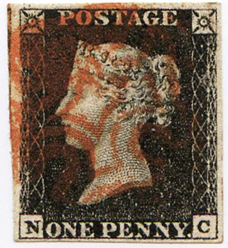 Penny Black (NC) Plate 4 Red MX 4 Margin Fine Used