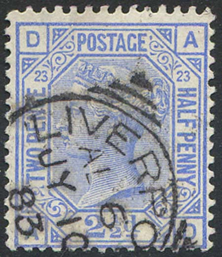 SG157 2 1/2d Blue Plate 23 Fine Used