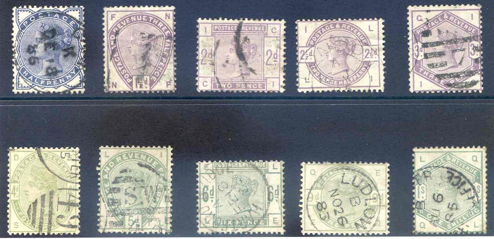 SG187/196 Lilac and Green set Fine Used