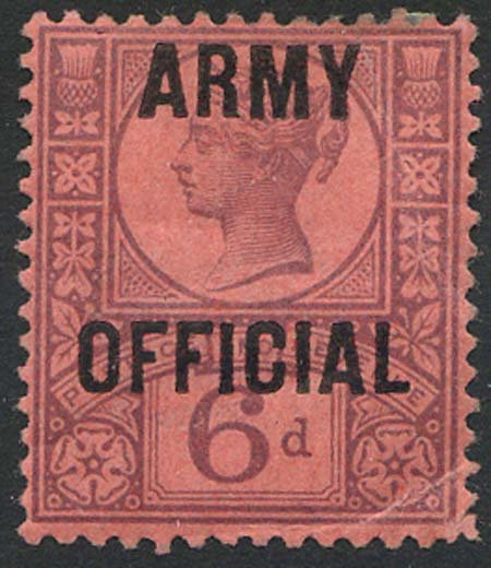 SG045 6d Rose Red Army Official Overprint Mounted Mint