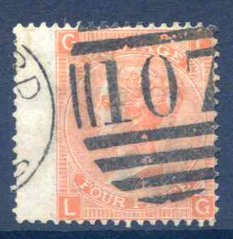 SG94 4d Vermillion Plate 13 Fine Used LH Wing Margin