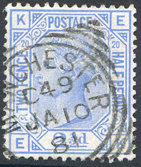 SG142 2 1/2d Blue Plate 20 Fine Used Part Manchester squared Circle Cancel