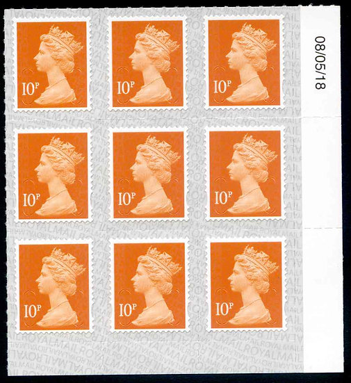 U2923 10p Dull Orange M18L Unmounted Mint Marginal Block 9
