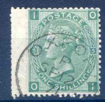 SG117 1/- Green Plate 5 Fine Used LH Wing Margin
