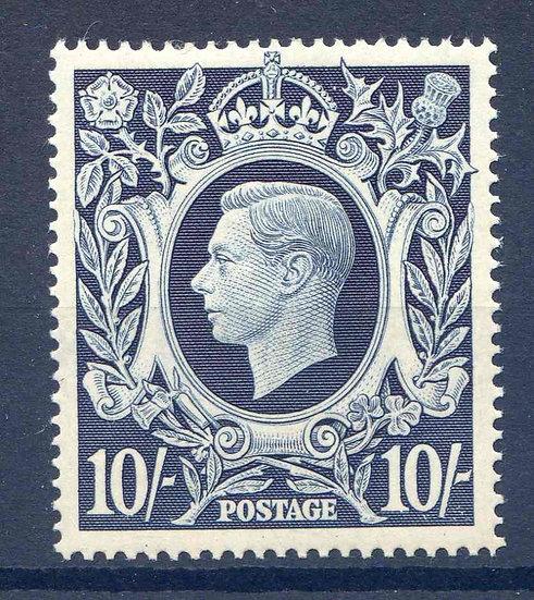 SG478 10/- Dark Blue Mounted Mint