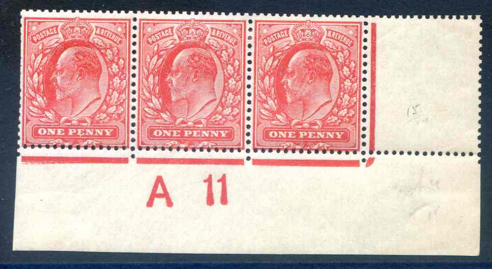 SG281 1d Rose Carmine A11 Control strip 3 Mounted Mint