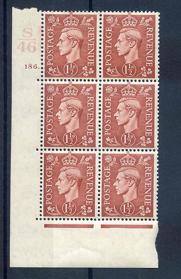 KGV1 1 1/2d Red Brown S46 Cyl 186 Dot mounted Mint Block 6