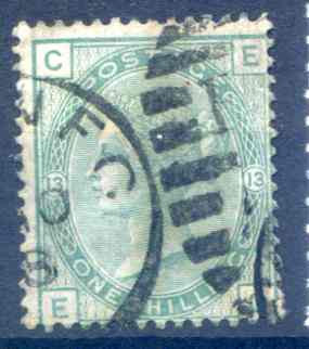 SG150 1/- Green Plate 13 Fine Used