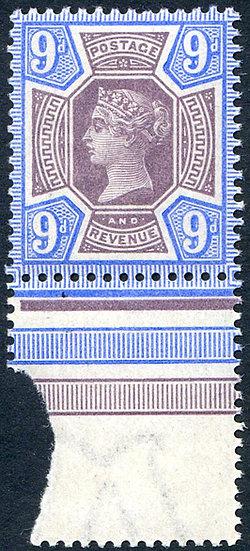 SG209 9d Purple & Blue Unmounted Mint Marginal
